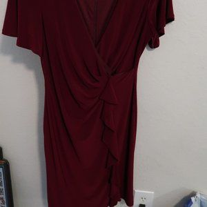 Red Wine Side Ruched Dress Size 10